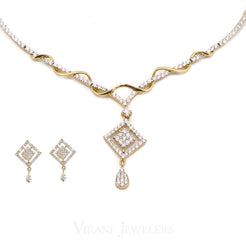 3.73CT Diamond Necklace and Earrings in 18K Yellow Gold W/ Double Diamond Frame Pendant