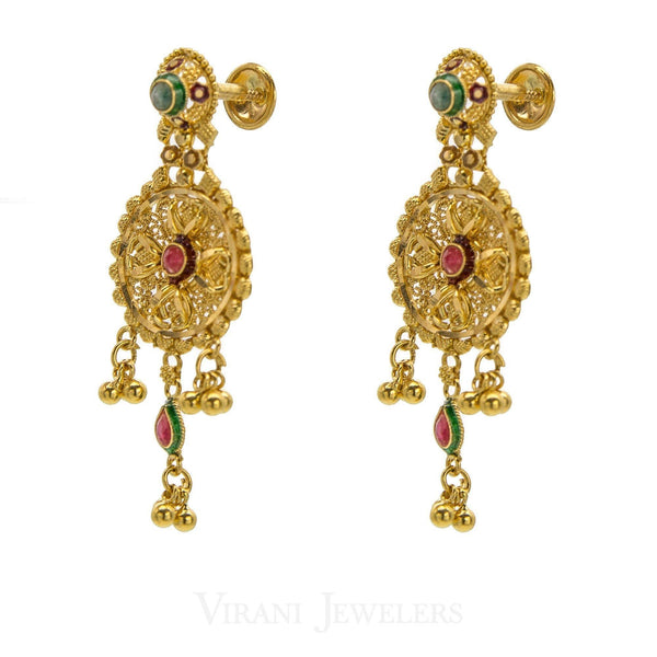 22K Yellow Gold Kundan Chandelier Earrings W/ Emerald And Ruby Stones And Post Screw Backs | 22K Yellow Gold Kundan Chandelier Earrings W/ Emerald And Ruby Stones And Post Screw Backs for wo...