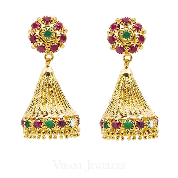 22K Yellow Gold Emerald & Ruby Jhumki Drop Earrings | 22K Yellow Gold Emerald & Ruby Jhumki Drop Earrings for women. Earrings have a post screw bac...