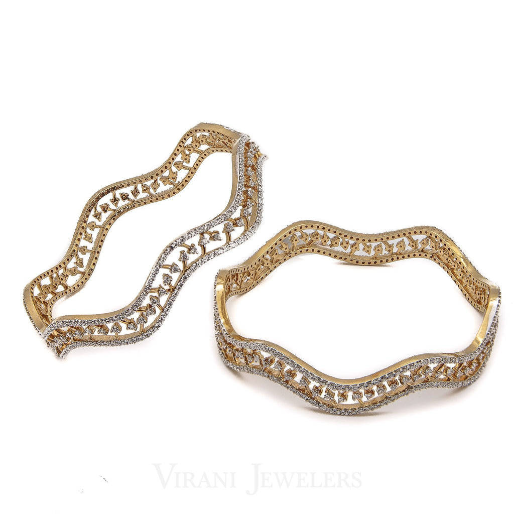 6.3CT Soft Wave Diamond Bangles in 18K Yellow Gold, Set of 2 | 6.3CT Soft Wave Diamond Bangles in 18K Yellow Gold, Set of 2 for women. It is a gorgeous piece wi...