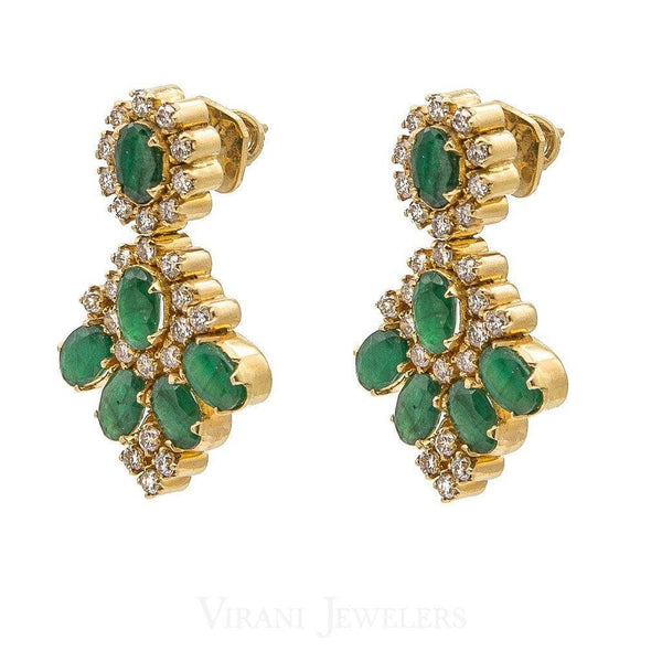 1.12CT Diamond Drop Earrings Set In 18K Yellow Gold W/ Precious Emerald Accents | 1.12CT Diamond Drop Earrings Set In 18K Yellow Gold W/ Precious Emerald Accents for women. Earrin...