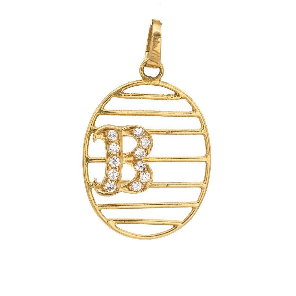 "0.11CT Diamond ""B"" Pendant Set in 18K Yellow Gold W/Oval Frame & Line Accents 