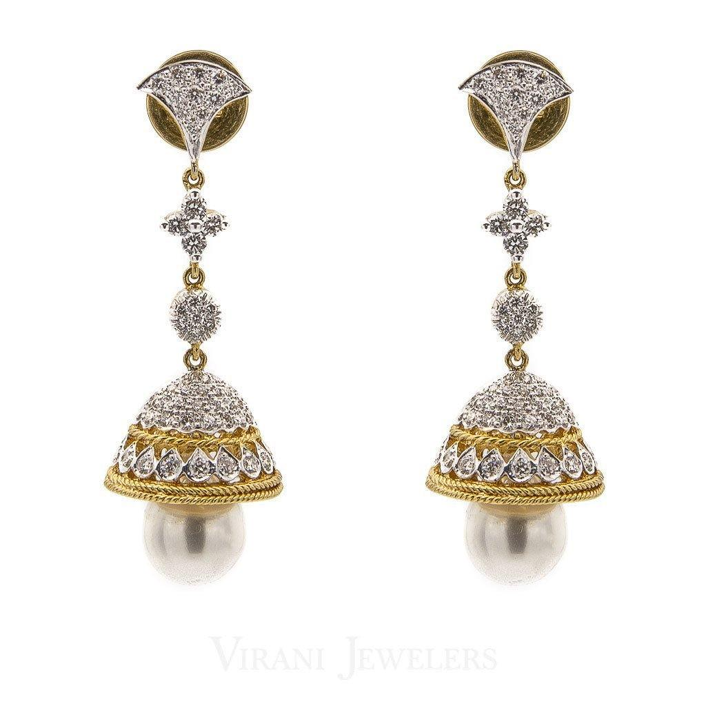 2.24CT Diamond Jhumki Drop Earrings Set In 18K Yellow Gold W/ Pearl Drops & Screw Back Post Closure | 2.24CT Diamond Jhumki Drop Earrings Set In 18K Yellow Gold W/ Pearl Drops & Screw Back Post C...
