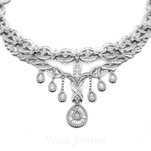 29.67CT Diamond Chandelier Necklace in 18K White Gold W/Infinity Design Accents | 29.67CT Diamond Chandelier Necklace in 18K White Gold W/Infinity Design Accents for women. Polish...
