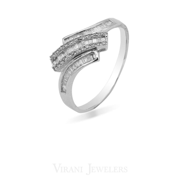 0.33CT Diamond Crossover Baguette Ring Set in 14K White Gold | 0.33CT Diamond Crossover Baguette Ring Set in 14K White Gold for women. This is an on-trend yet c...
