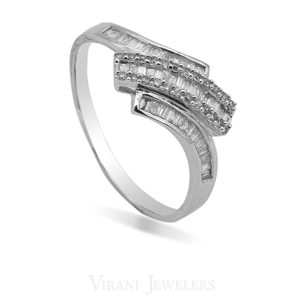 0.33CT Diamond Crossover Baguette Ring Set in 14K White Gold - Virani Jewelers | 0.33CT Diamond Crossover Baguette Ring Set in 14K White Gold for women. This is an on-trend yet c...