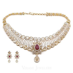 14.73CT Diamond Necklace and Earrings in 18K Yellow Gold W/ Floral Frame & Centered Ruby - Virani Jewelers