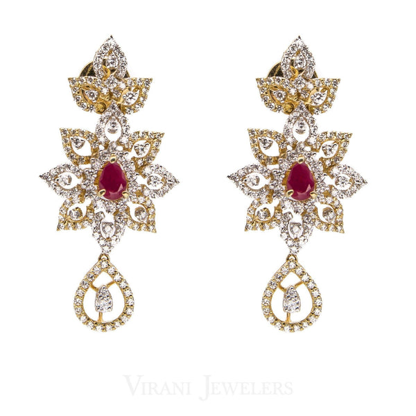 14.73CT Diamond Necklace and Earrings in 18K Yellow Gold W/ Floral Frame & Centered Ruby | 14.73CT Diamond Necklace and Earrings in 18K Yellow Gold W/ Floral Frame & Centered Ruby for ...