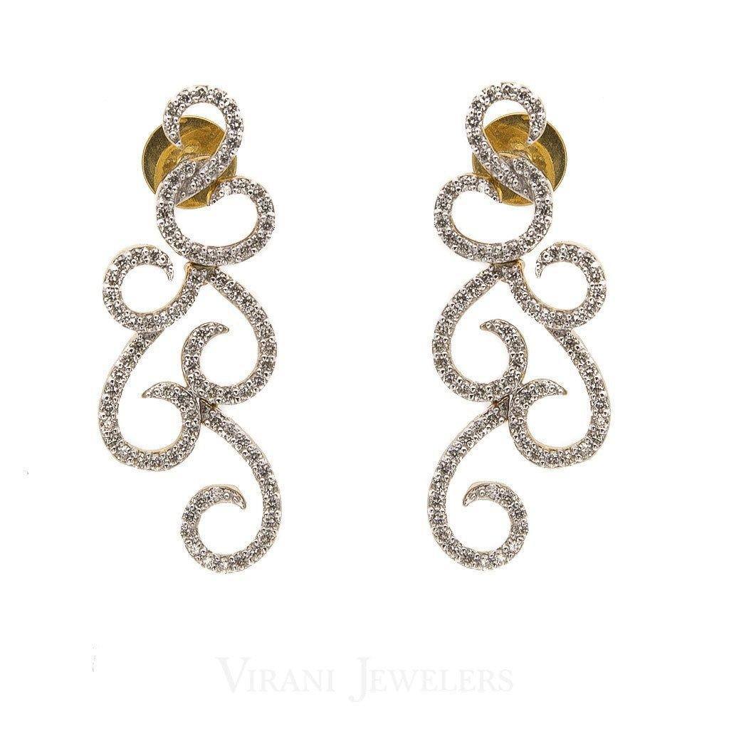 1.23CT Diamond Drop Filigree Earrings Set In 18K White Gold W/ Screw Back Post | 1.23CT Diamond Drop Filigree Earrings Set In 18K White Gold W/ Screw Back Post for women. Elegant...