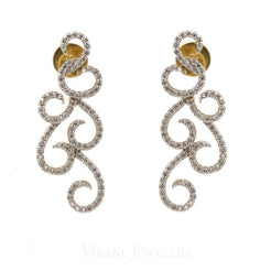 1.23CT Diamond Drop Filigree Earrings Set In 18K White Gold W/ Screw Back Post