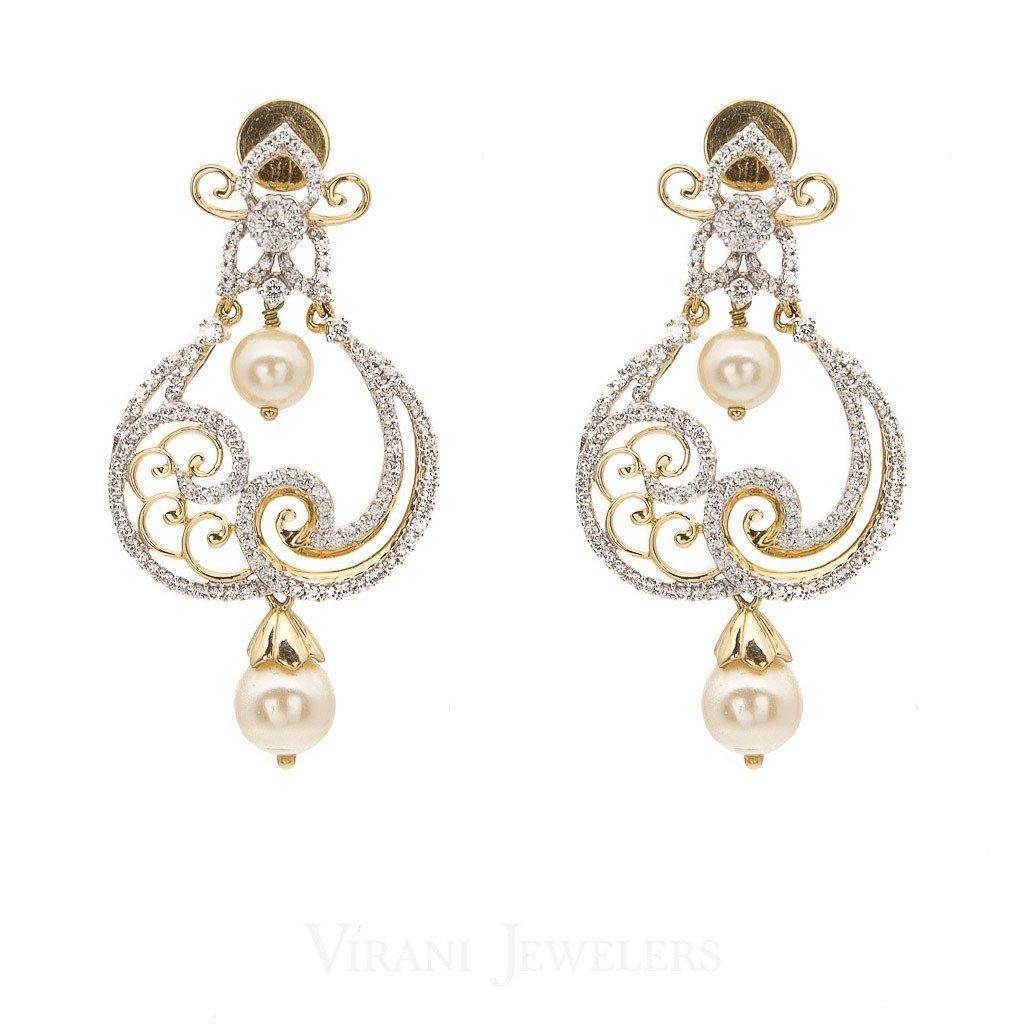 1.49CT Diamond Filigree Drop Earrings Set In 18K White Gold W/Centered Drop Pearls | 1.49CT Diamond Filigree Drop Earrings Set In 18K White Gold W/Centered Drop Pearls for women. Stu...