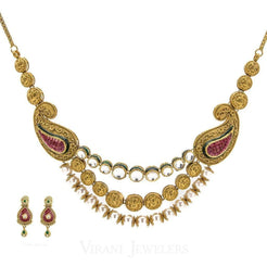 22K Antique Gold KundanNecklace & Earring Set W/ Pearl & Hand-Painted Accents