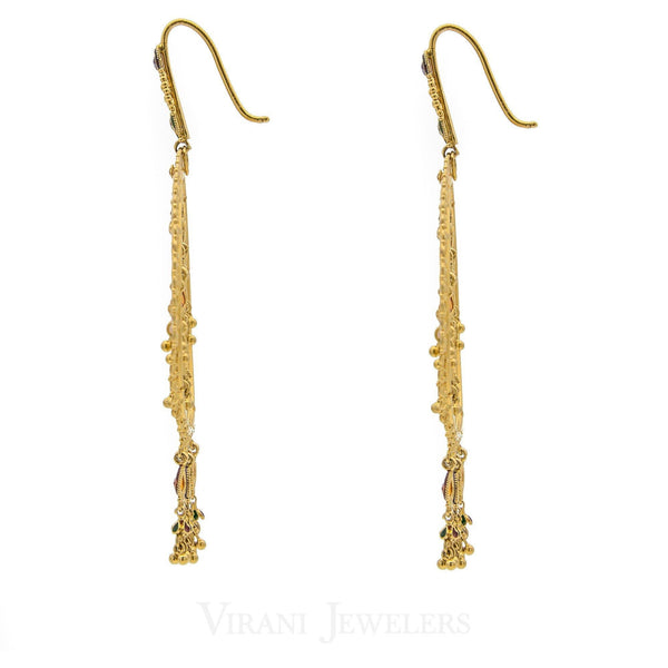 22K Gold Long Earrings | 22K Gold Long Earrings. Weight 20.4 grams