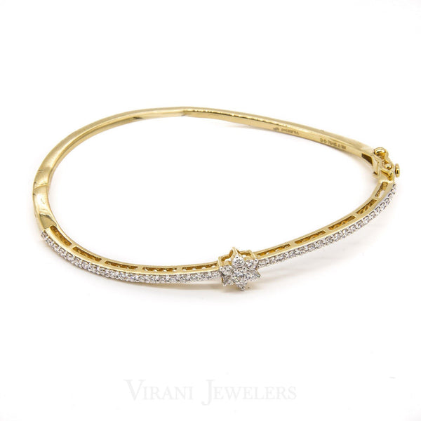 0.76CT Round Diamond Cuff Bracelet Set in 18K Gold W/ Floral Design Accent | .76CT Round Diamond Cuff Bracelet Set in 18K Gold W/ Floral Design Accent for women. diameter is ...