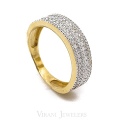 0.53CT Micro Pave Diamond Band Ring Set in 14K Yellow Gold