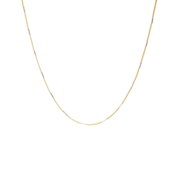 22K Multi-Tone Gold Minimalist Chain |  Bring an air of casual elegance to your outfits with the 22K Multi-Tone Gold Minimalist Chain fr...