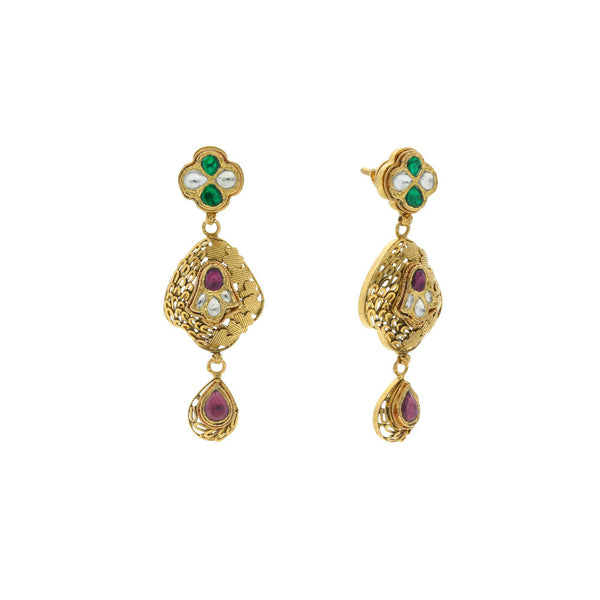 22K Yellow Gold Exquisite Hanging Earrings Finished W/ Kundan, 16.7 grams |    Highlight your elegance and style with this carefully crafted gold earrings! This classic pair...