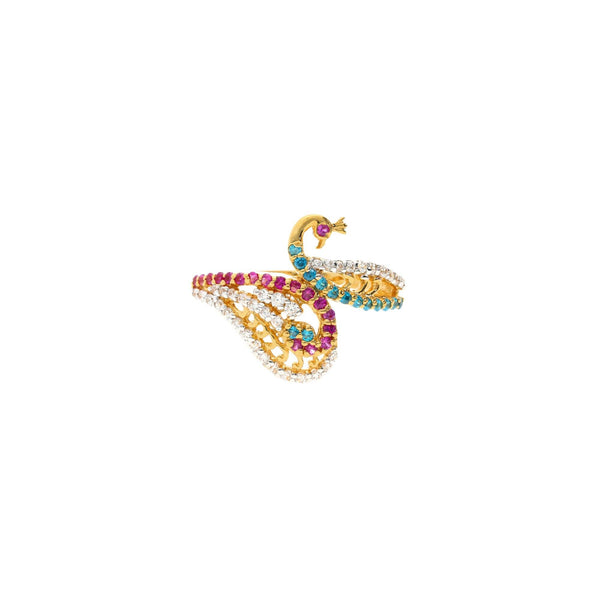 22K Gold & Gemstone Demure Peacock Ring |    The 22K Gold & Gemstone Demure Peacock Ring from Virani Jewelers is the perfect cocktail r...