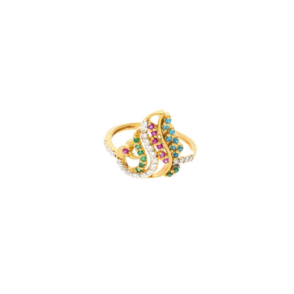 22K Gold & Gemstone Elegant Peacock Ring |    This elegant 22k gold ring's colorful peacock design holds great meaning within Indian culture...