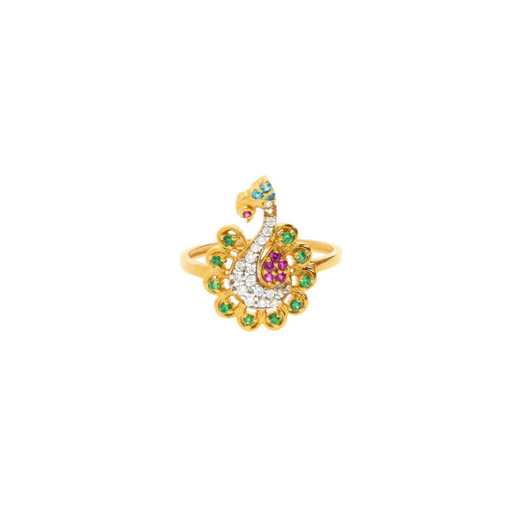 22K Gold & Gemstone Radiant Peacock Ring |    The stunning 22K Gold & Gemstone Radiant Peacock Ring is a one of a kind Virani Jewelers d...