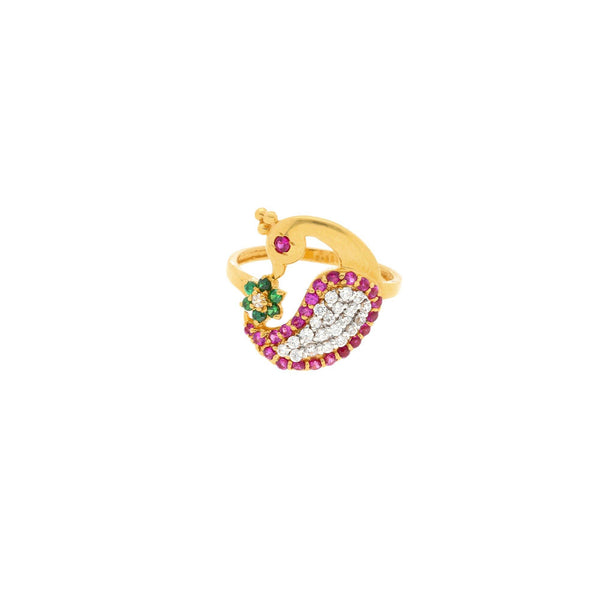 22K Gold & Gemstone Ahdia Peacock Ring |    The gorgeous 22K Gold Ahdia Peacock Ring is a special and unique Virani Jewelers design. This ...
