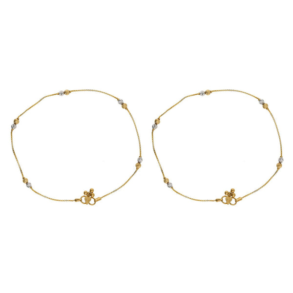 22K Multi Tone Gold Box Link Anklets Set of 2 W/ Etched Gold Balls, 10.1 Grams - Virani Jewelers |    Dance joyfully with the graceful movements of golden ornaments at your feet such as this set o...