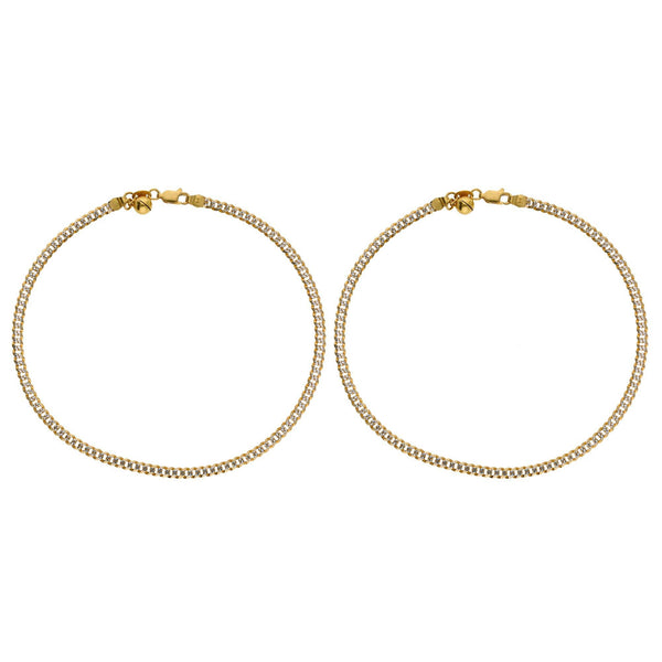 22K Multi Tone Gold Cuban Link Anklets Set of 2 |    Be classic and chic with the timeless touches of this 22K multi tone gold Cuban link anklet se...
