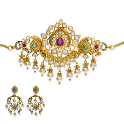 22K Yellow Antique Gold 2-in-1 Choker/Vanki & Chandbali Earrings Set W/ Emerald, Ruby, Pachi CZ, Pearls & Lotus Flower Design