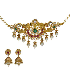 22K Yellow Antique Gold 2-in-1 Choker/Vanki & Jhumki Earrings Set W/ Kundan, Emerald, Pearls & Crescent Accents