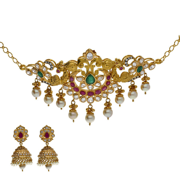 22K Yellow Antique Gold 2-in-1 Choker/Vanki & Jhumki Earrings Set W/ Kundan, Emerald, Pearls & Crescent Accents |     Add a unique twist of versatility to your wardrobe this season with the addition of pieces li...