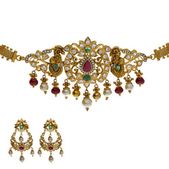 22K Yellow Gold 2-in-1 Choker/Vanki & Chandbali Earrings Set W/ Emerald, Pachi CZ, Hanging Pearls & Darkly Etched Accents
