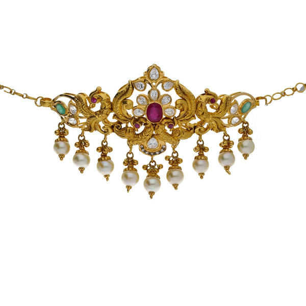 An image of a beautiful 22K choker necklace and arm vanki from Virani Jewelers | Looking for elegant 22K yellow gold jewelry to accompany your traditional attire? This versatile ...