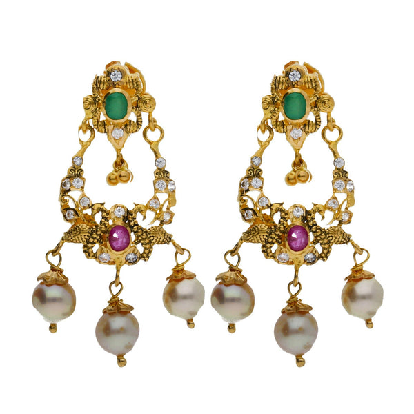 An image of two elegant 22K yellow gold earrings with pearl features from Virani Jewelers | Looking for elegant 22K yellow gold jewelry to accompany your traditional attire? This versatile ...