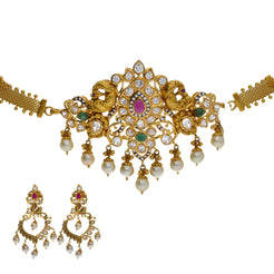 22K Yellow Antique Gold 2-in-1 Choker/Vanki & Earrings Set W/ Emerald, Ruby, CZ, Pearls & Asymettric Earring Designs