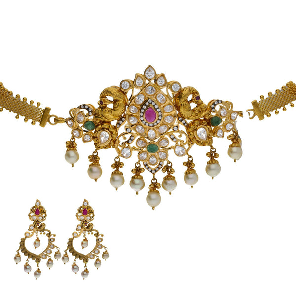 An image of a beautiful 22K yellow gold jewelry set from Virani Jewelers | Accessorize elegantly with this 22K yellow gold necklace and earring set from Virani Jewelers!  M...