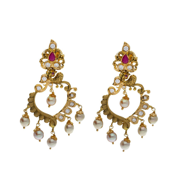 An image of a pair of 22K gold earrings from Virani Jewelers | Accessorize elegantly with this 22K yellow gold necklace and earring set from Virani Jewelers!  M...