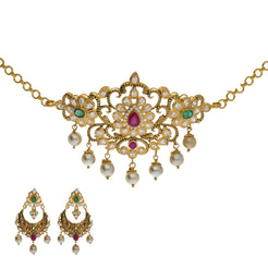 22K Yellow Antique Gold 2-in-1 Choker/Vanki & Chandbali Earrings Set W/ Emerald, Ruby, CZ, Pearls & Paisley Flower Design