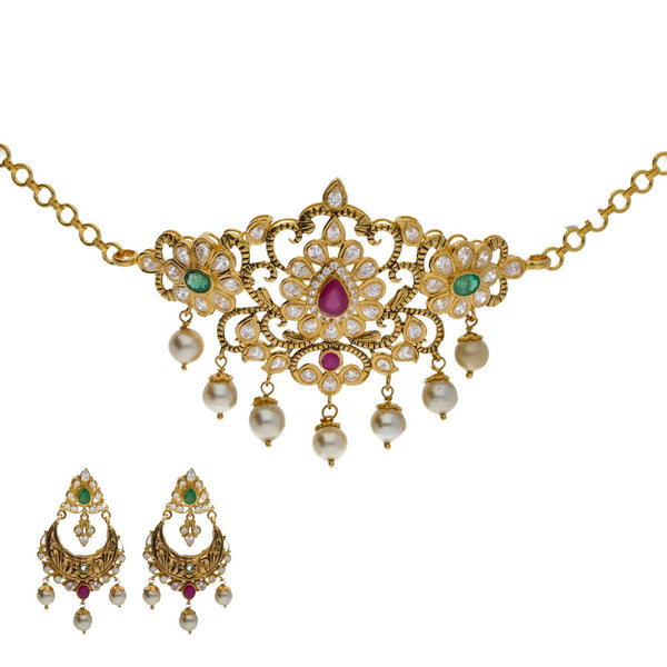 An image of an elegant Indian jewelry set with a necklace and earrings from Virani Jewelers | Searching for elegant 22K yellow gold jewelry to complement your formal attire? Check out this ne...