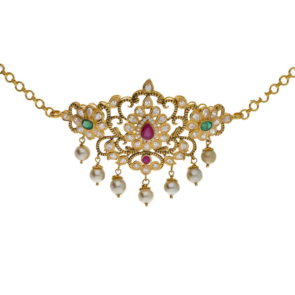 An image of a beautiful 22K gold necklace with gemstone accents, designed by Virani Jewelers | Searching for elegant 22K yellow gold jewelry to complement your formal attire? Check out this ne...