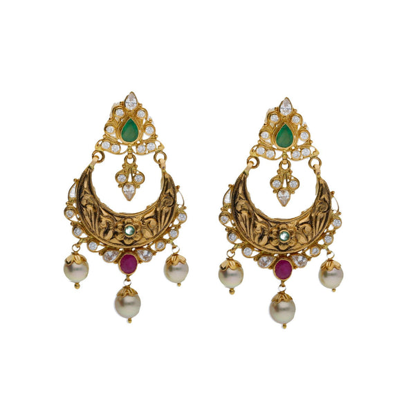 An image of a pair of exquisite Indian earrings from Virani Jewelers | Searching for elegant 22K yellow gold jewelry to complement your formal attire? Check out this ne...