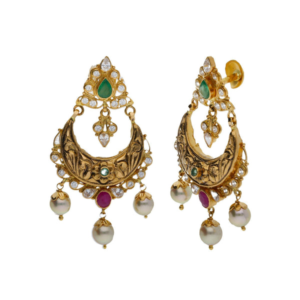 22K Yellow Antique Gold 2-in-1 Choker/Vanki & Chandbali Earrings Set W/ Emerald, Ruby, CZ, Pearls & Paisley Flower Design |    Every woman deserves to feel elegant and classy in timeless gemstone jewelry that complements ...