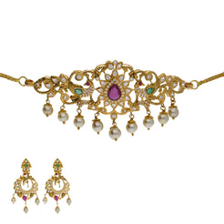 22K Yellow Antique Gold 2-in-1 Choker/Vanki & Chandbali Earrings Set W/ Emerald, Ruby, CZ, Pearls & Open Starburst Design