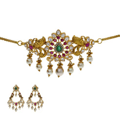 22K Yellow Antique Gold 2-in-1 Choker/Vanki & Chandbali Earrings Set W/ Emerald, Ruby, CZ, Pearls & Pear Shaped Accents