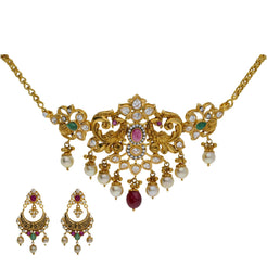 22K Yellow Antique Gold 2-in-1 Choker/Vanki & Chandbali Earrings Set W/ Emerald, Ruby, CZ, Pearls & Double Peacock Design