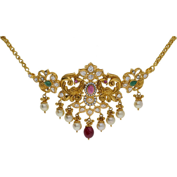 22K Yellow Antique Gold 2-in-1 Choker/Vanki & Chandbali Earrings Set W/ Emerald, Ruby, CZ, Pearls & Double Peacock Design - Virani Jewelers |    Explore the endless options of our radiant gemstone jewelry designs like this 22K yellow antiq...