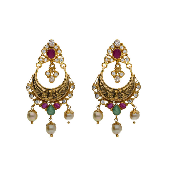 An image of two gorgeous Indian earrings in a set from Virani Jewelers | Use this 22K yellow gold set from Virani Jewelers to accessorize with elegance!  Includes convert...