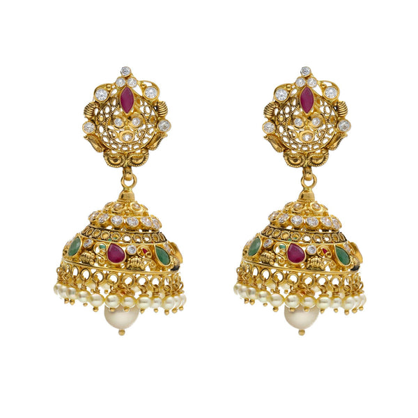 An image of a pair 22K gold earrings from Virani Jewelers | Introduce your wardrobe to 22K yellow gold jewelry with this exquisite set from Virani Jewelers! ...