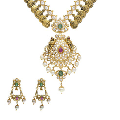 22K Yellow Antique Gold Necklace & Chandbali Earrings Set W/ Laxmi Kasu, Pachi CZ, Emeralds, Rubies & Pearls