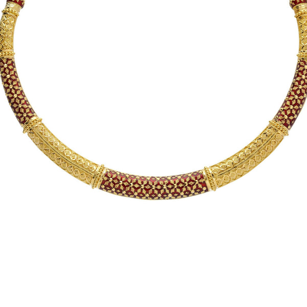 An image of an elegant 22K yellow gold Hasdi necklace with hand-painted red enamel from Virani Jewelers | Add gorgeous 22K yellow gold jewelry to your wardrobe with this Hasdi necklace and Jhumki earring...
