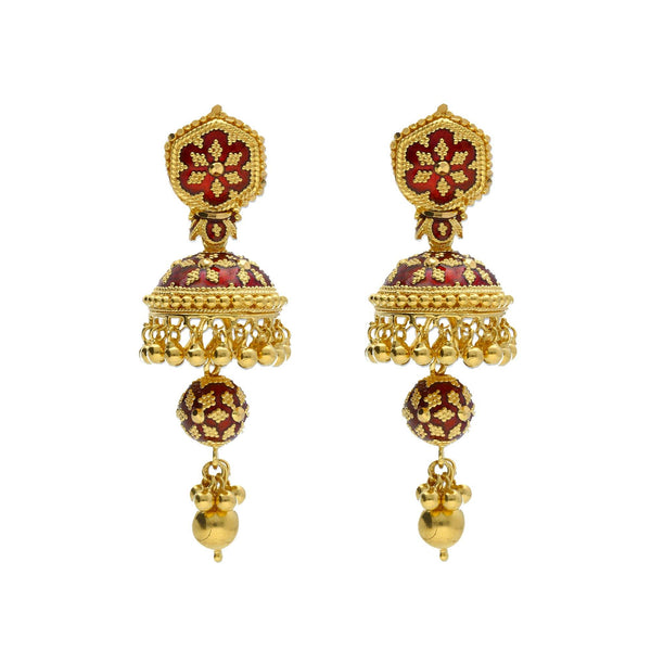 An image of two stunning 22K yellow gold earrings with hand-painted red enamel features | Add gorgeous 22K yellow gold jewelry to your wardrobe with this Hasdi necklace and Jhumki earring...